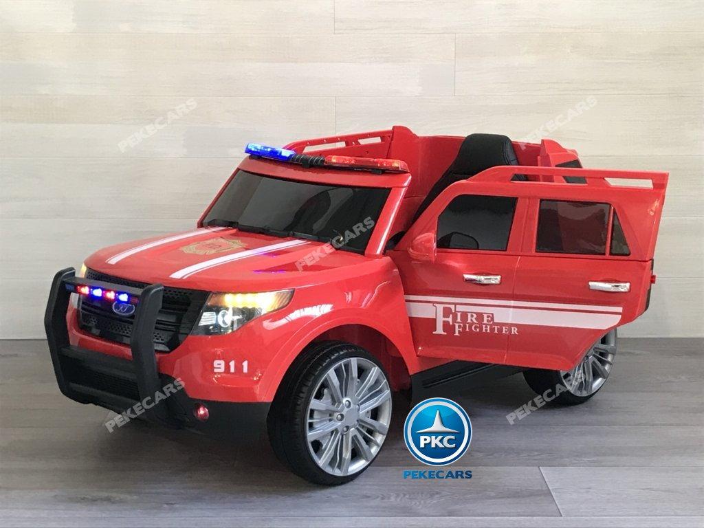Coche electrico para niños jefe de bomberos 12V rojo con apertura de puertas