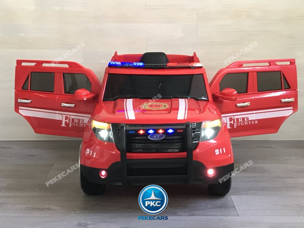 Coche electrico infantil jefe de bomberos 12V rojo vista frontal