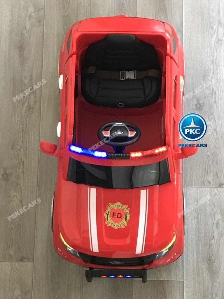 Coche electrico para niños jefe de bomberos 12V rojo visto desde arriba