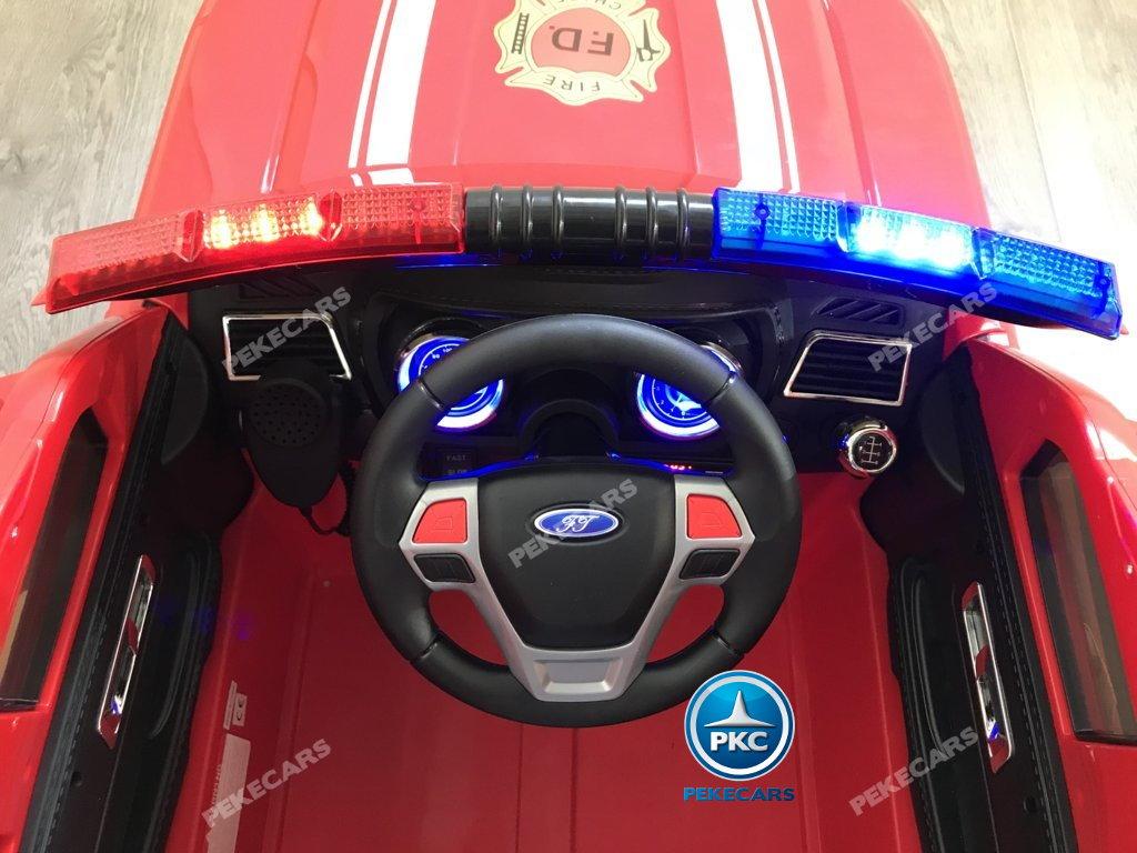 Coche electrico infantil jefe de bomberos 12V rojo volante con musica y claxon