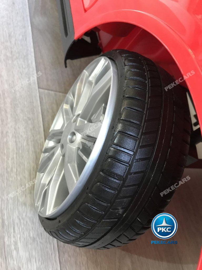 Coche electrico infantil jefe de bomberos 12V rojo con ruedas de caucho antipinchazos