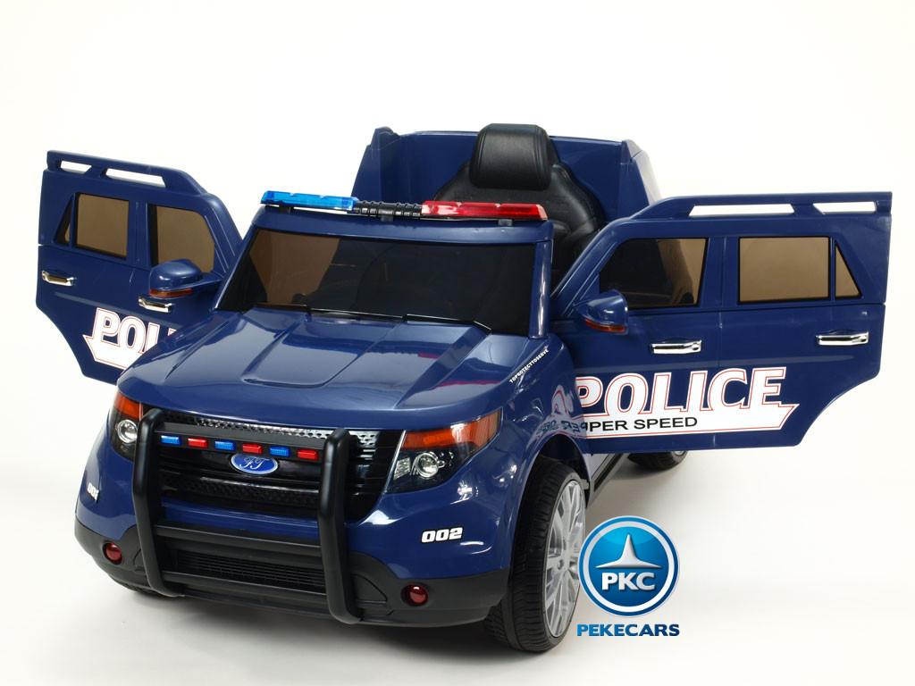 Coche electrico de policia infantil Azul con apertura de puertas