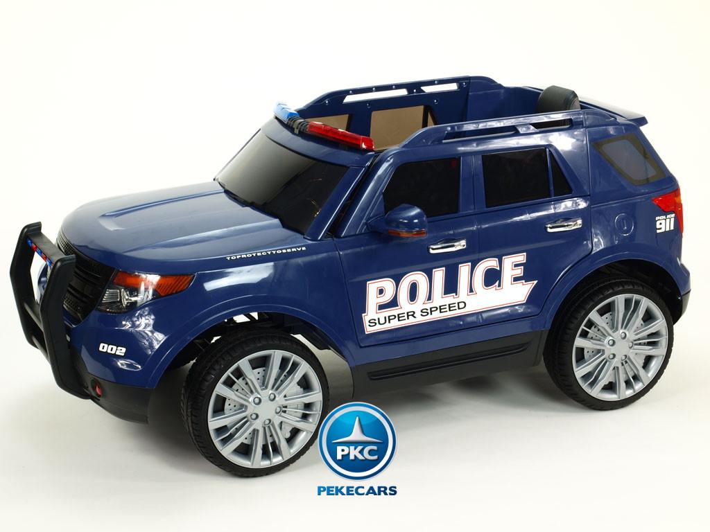 Coche electrico de policia infantil Azul con ruedas de caucho antipinchazos