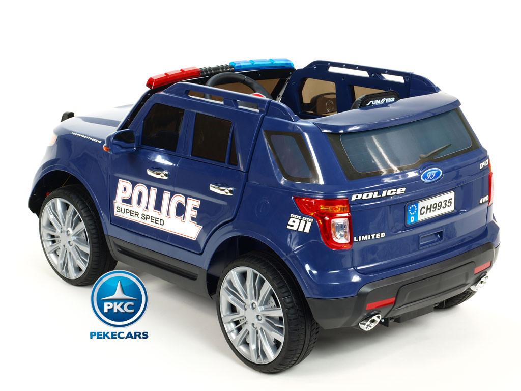 Coche electrico de policia para niños Azul con conexion USB, MP3 y SD