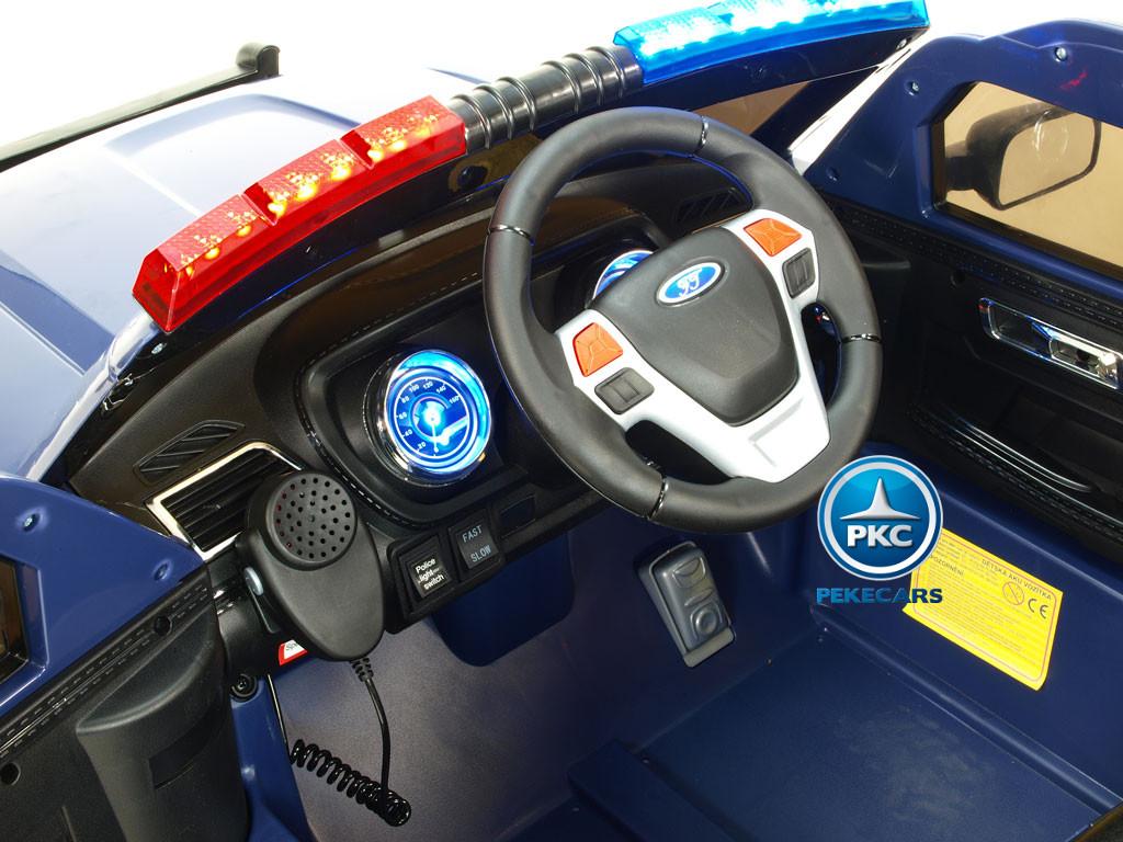 Coche electrico de policia para niños Azul volante con musica y claxon