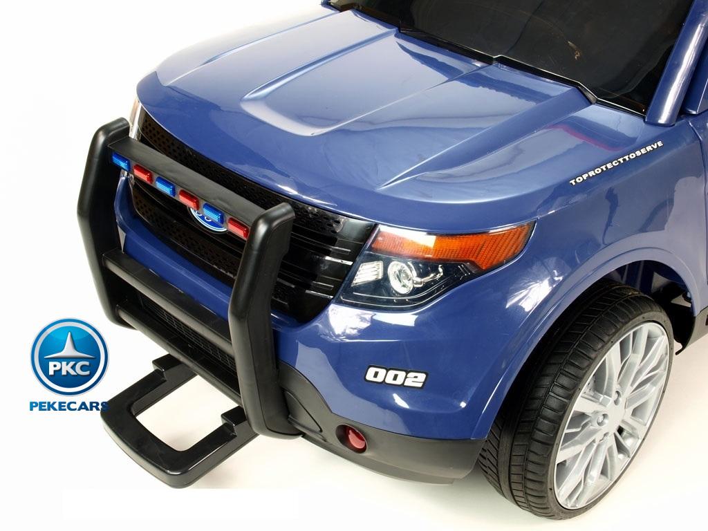 Coche electrico de policia para niños Azul con asa de transporte