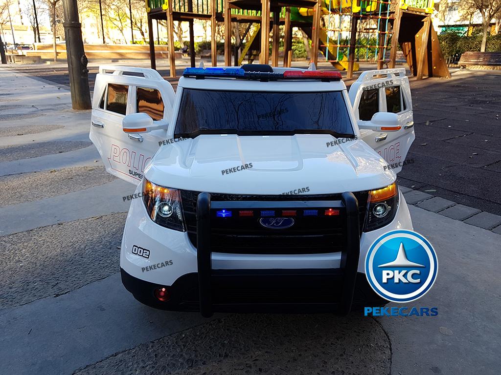 Coche electrico de policia para niños Blanco vista frontal