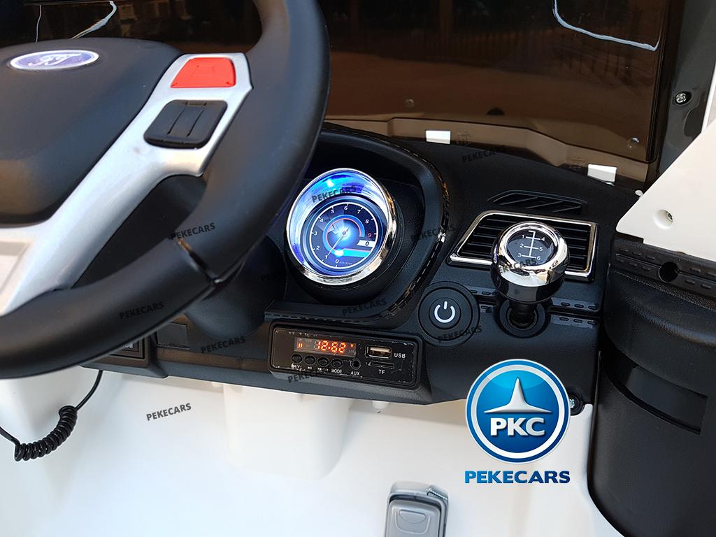 Coche electrico de policia para niños Blanco con conexion USB, MP3 y SD