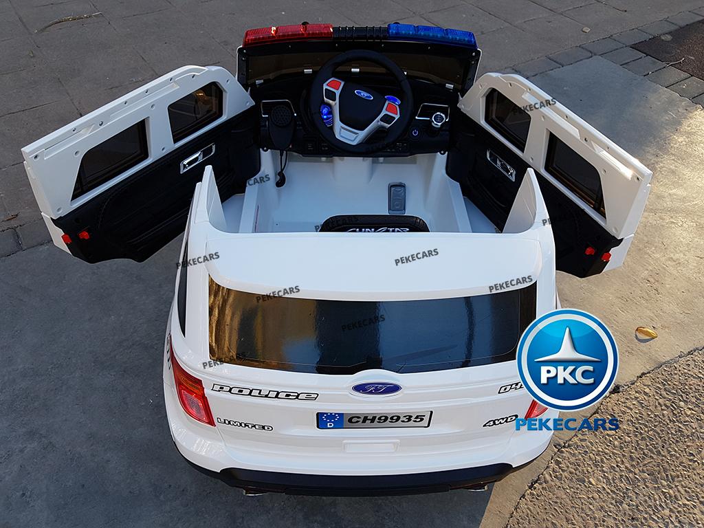 Coche electrico de policia para niños Blanco con luces led traseras