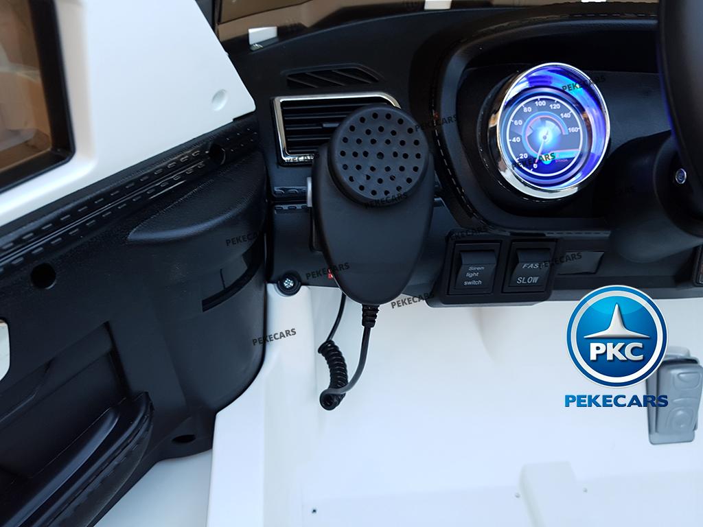 Coche electrico de policia para niños Blanco con salpicadero iluminado en color azul