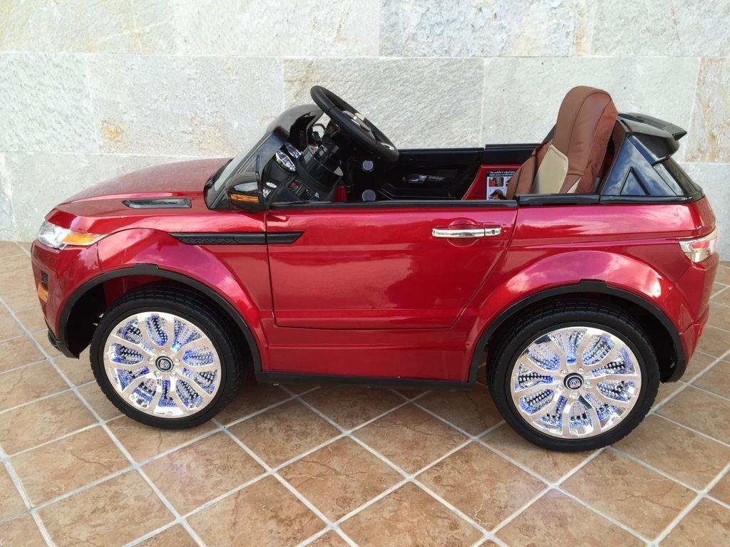 Coche electrico para niños evoque style rojo metalizado con luces en las ruedas