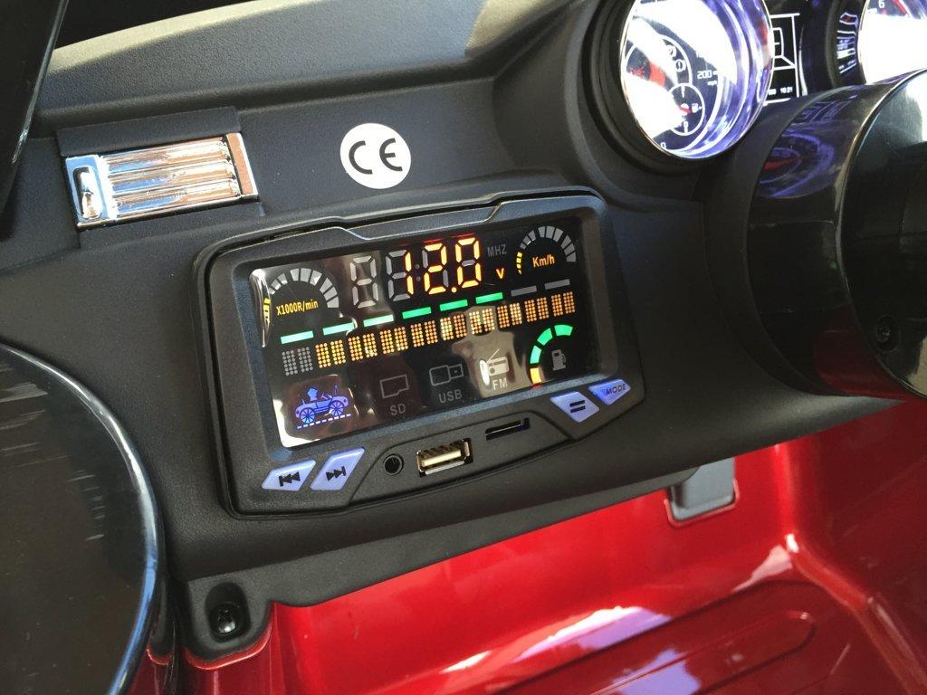 Coche electrico para niños evoque style rojo metalizado dashboard con USB