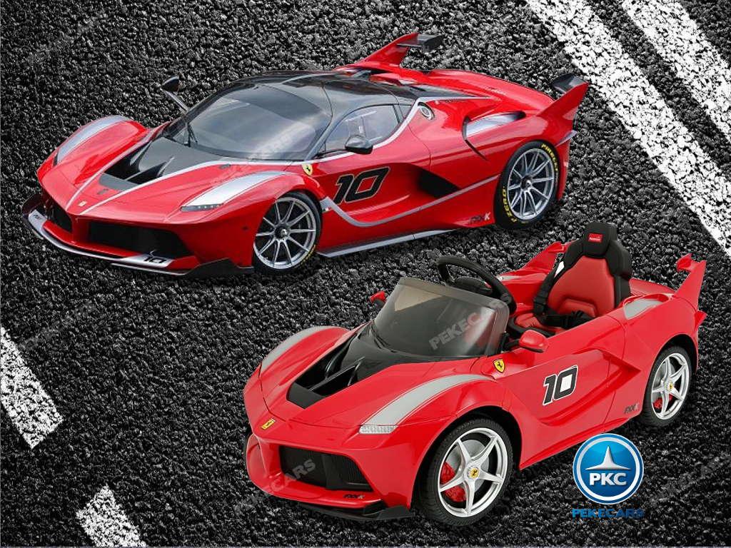 Coche electrico para niños Ferrari FXX-K Rojo Pintado comparativa con el modelo real