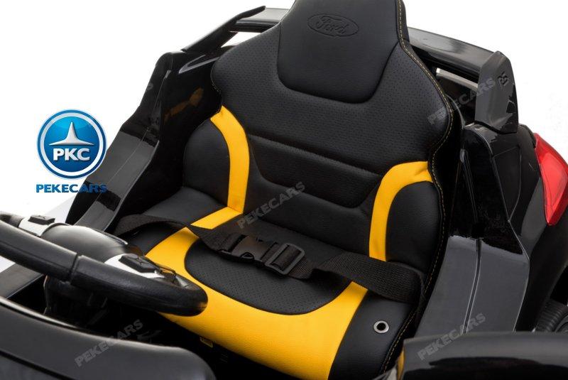 Coche electrico para niños Ford Focus RS Negro con cinturon de seguridad
