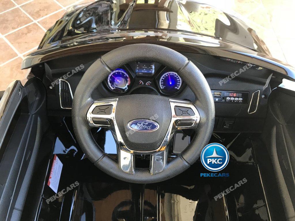 Coche electrico infantil Ford Focus RS Negro volante con musica y claxon