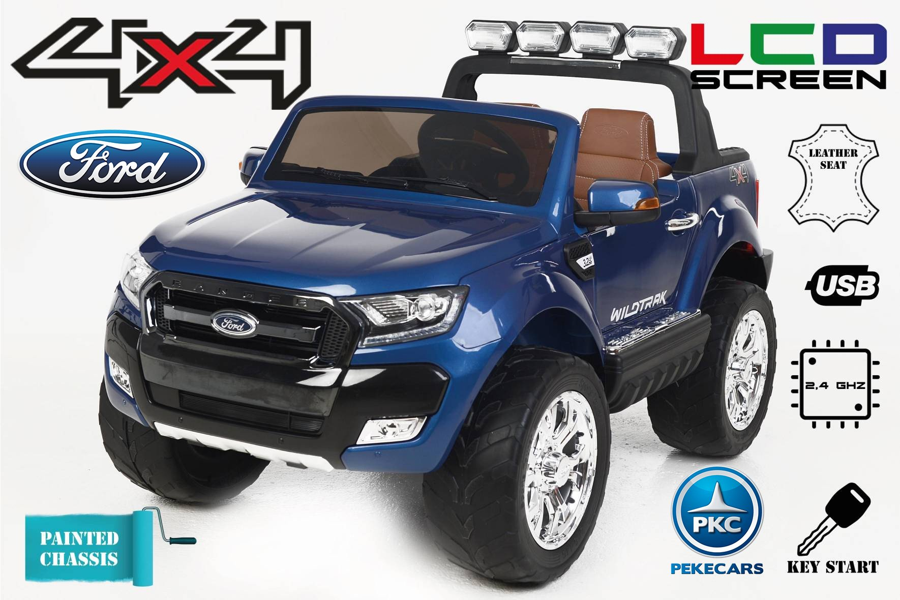 Todoterreno electrico infantil Ford Ranger MP4 Azul Metalizado vista principal
