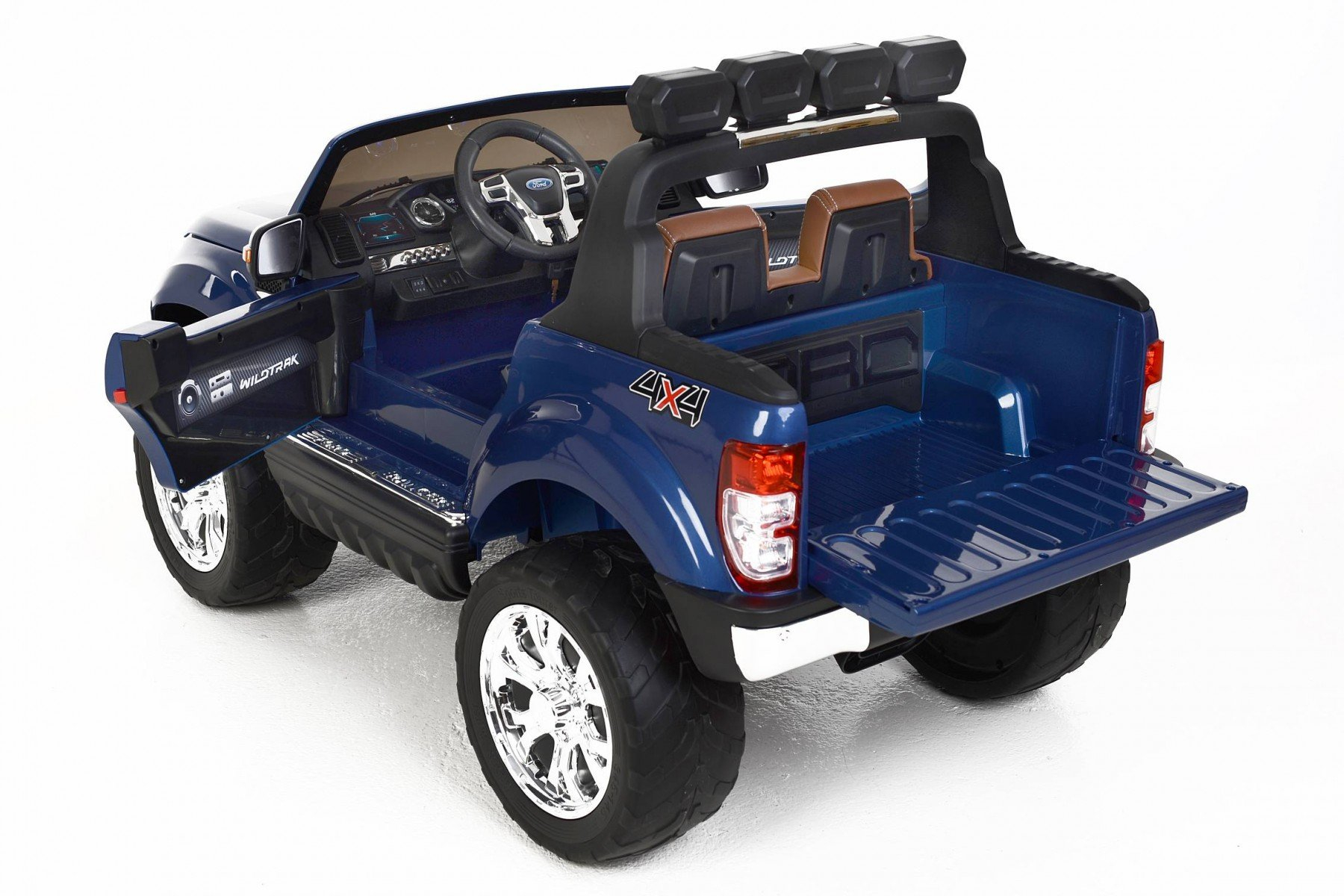 Todoterreno electrico infantil Ford Ranger MP4 Azul Metalizado maletero trasero