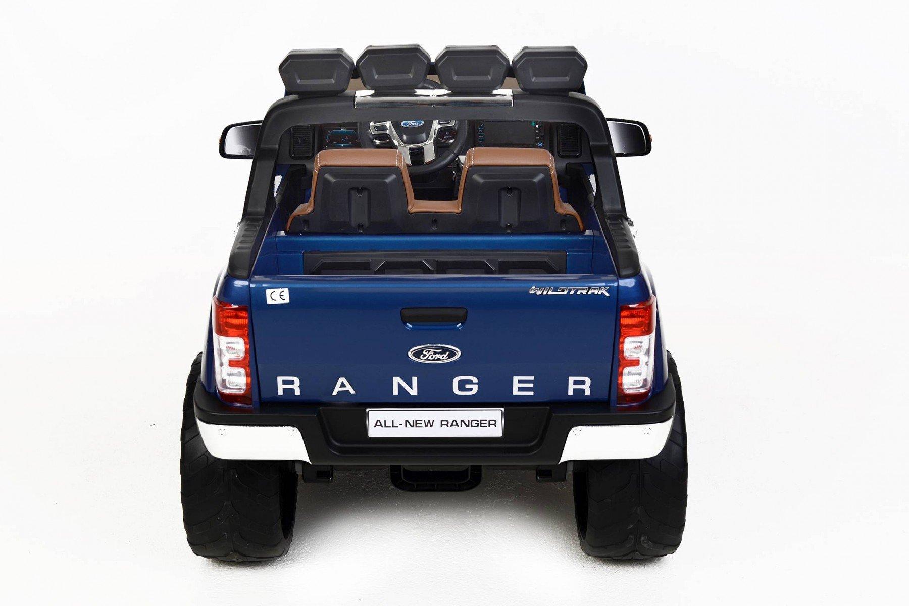 Todoterreno electrico para niños Ford Ranger MP4 Azul Metalizado vista trasera