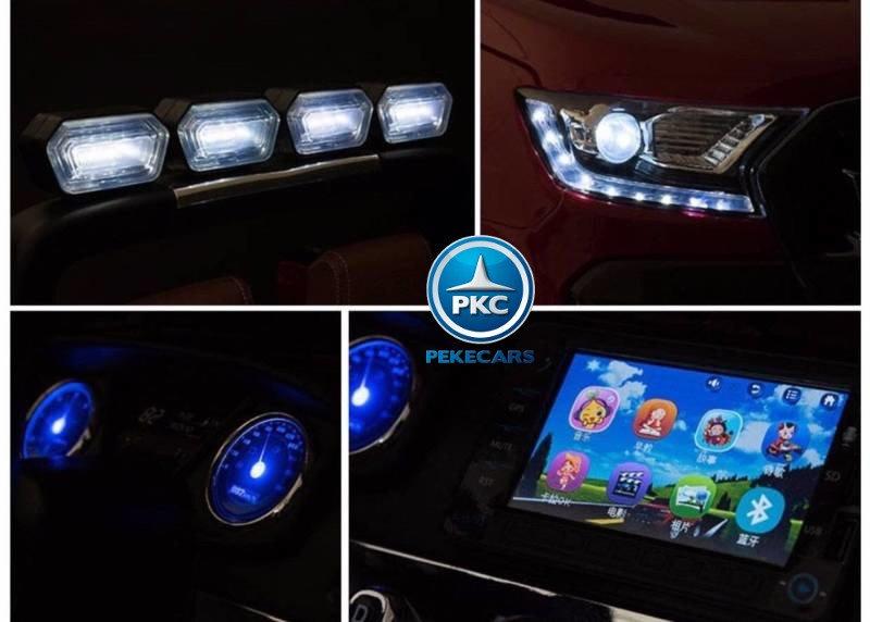 Todoterreno electrico para niños Ford Ranger MP4 Azul Metalizado luces led