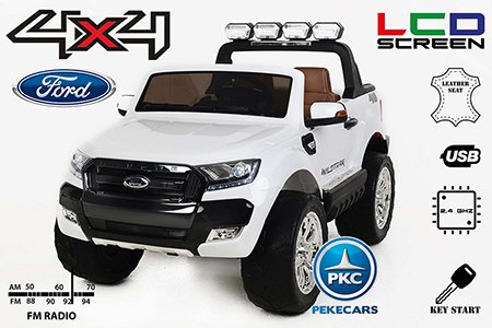Pekecars Ford ranger 4x4 12V con RC 2.4G y MP4  blanco