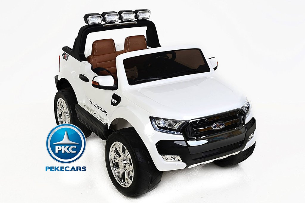 Todoterreno electrico para niños Ford Ranger MP4 Blanco luces led