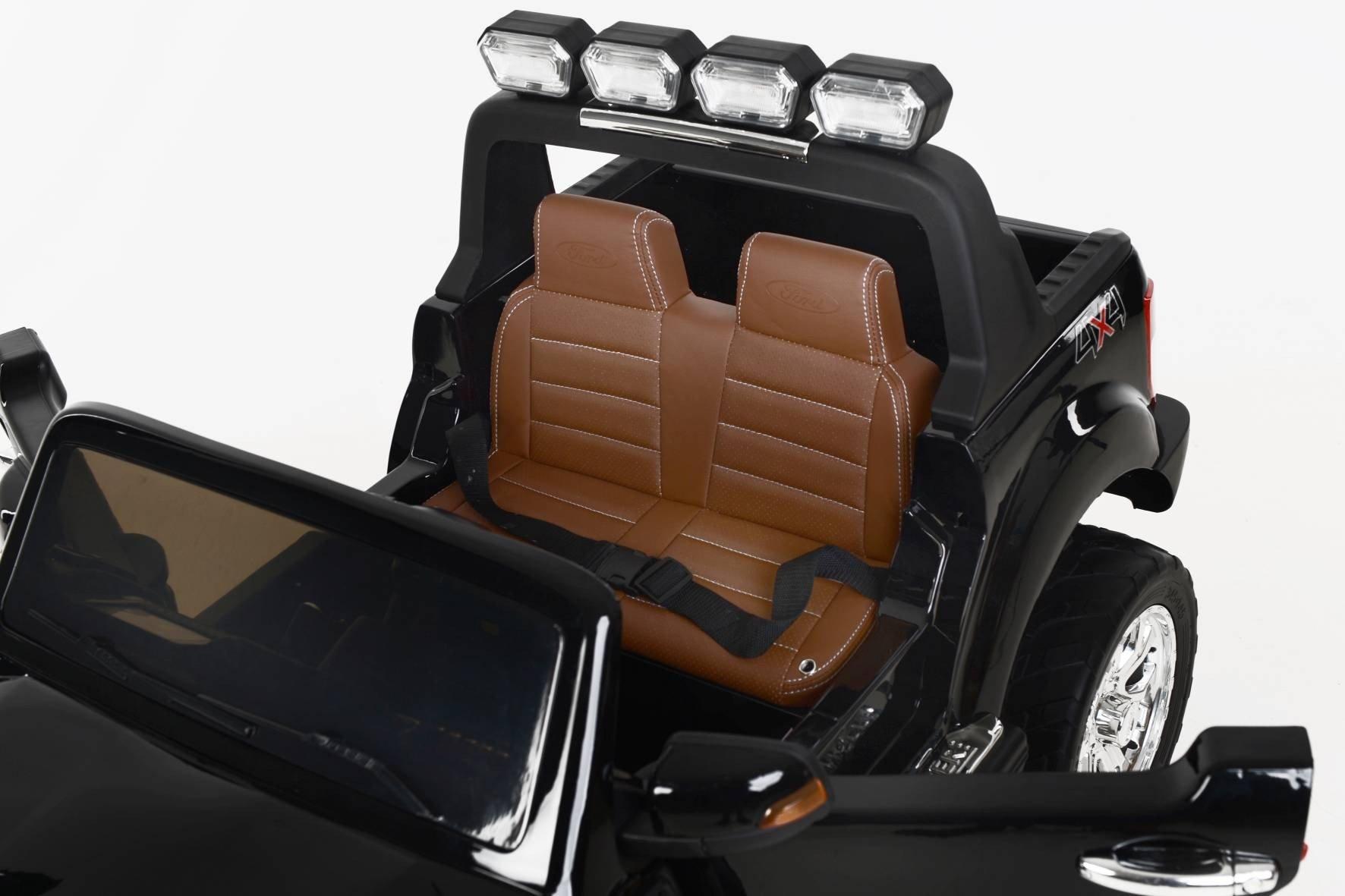 Todoterreno electrico para niños Ford Ranger MP4 Negro Metalizado asiento acolchado