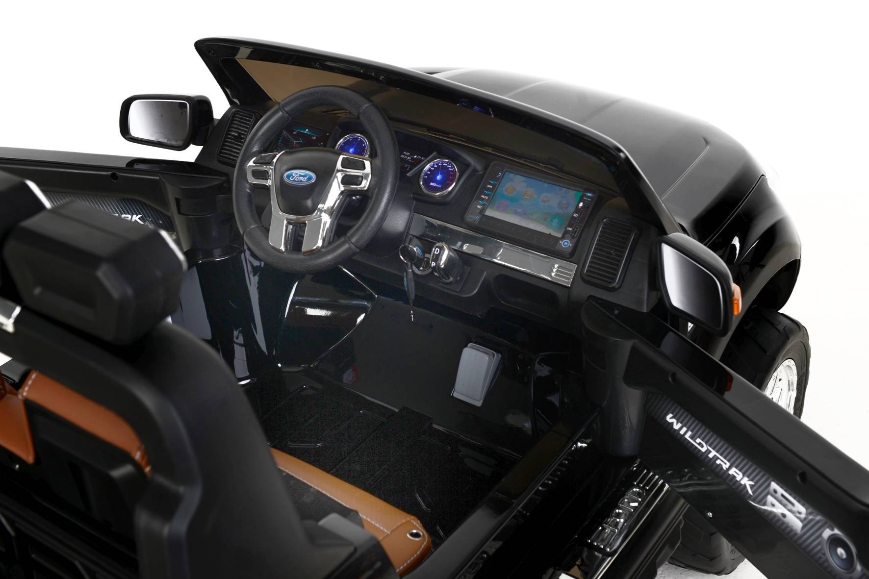 Todoterreno electrico infantil Ford Ranger MP4 Negro Metalizado detalles del interior