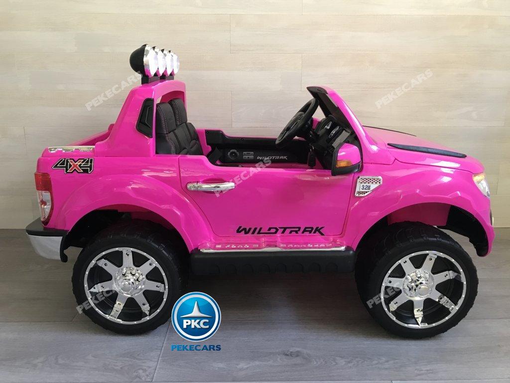 Todoterreno electrico para niños Ford Ranger Rosa vista lateral