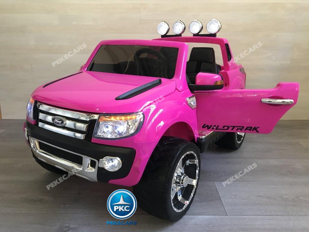 Todoterreno electrico infantil Ford Ranger Rosa con apertura de puertas
