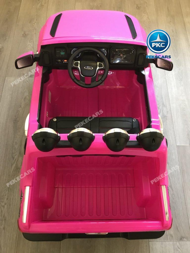 Todoterreno electrico para niños Ford Ranger Rosa detalles del interior