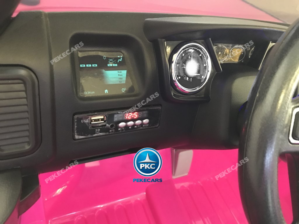 Ford ranger Pickup Fucsia Rosa 12V vista del display de sonido