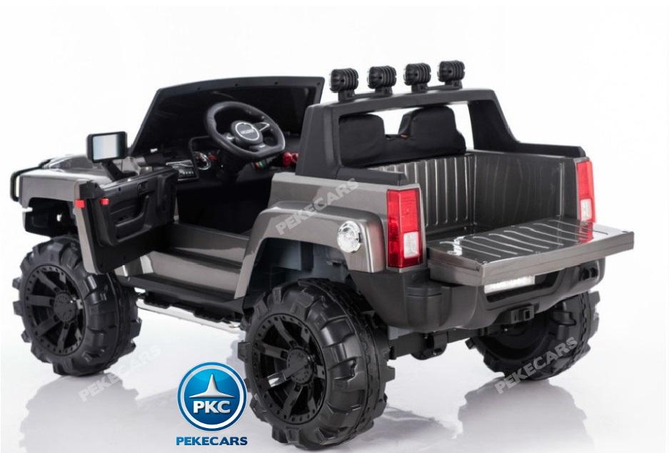 Todoterreno electrico para niños Big Hummer Style 2 plazas Plata Metalizado con amplio maletero