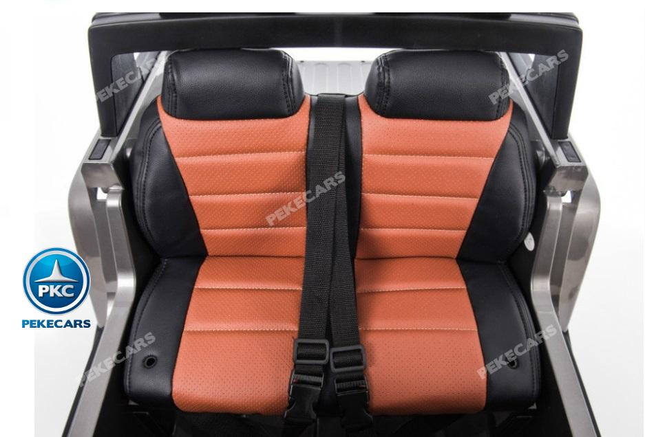 Todoterreno electrico para niños Big Hummer Style 2 plazas Blanco asiento acolchado en piel
