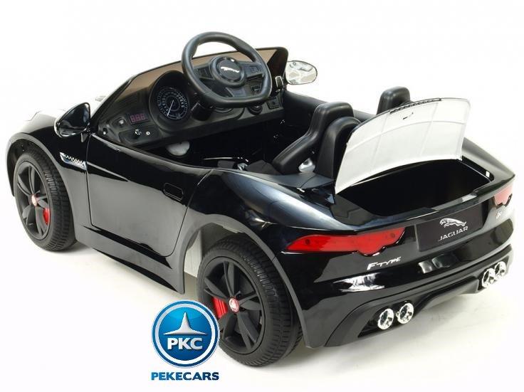 Coche electrico para niños Jaguar F-Type negro metalizado luces traseras