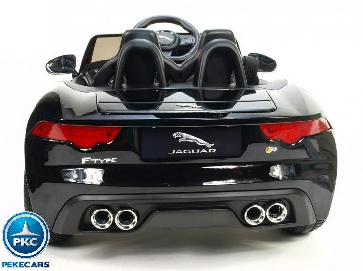 Coche electrico para niños Jaguar F-Type negro metalizado ruedas de caucho