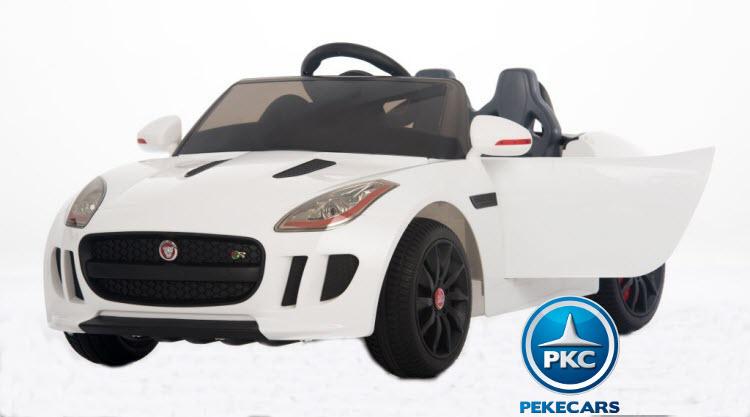 Coche electrico para niños Jaguar F-Type blanco con apertura de puertas