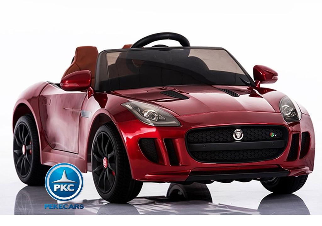 Coche electrico para niños Jaguar F-Type rojo metalizado luces traseras