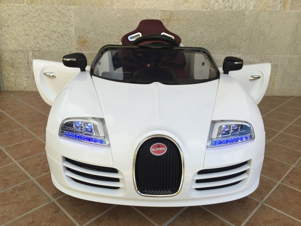 Coche electrico para niños Bugatti Veyron Style Blanco vista frontal
