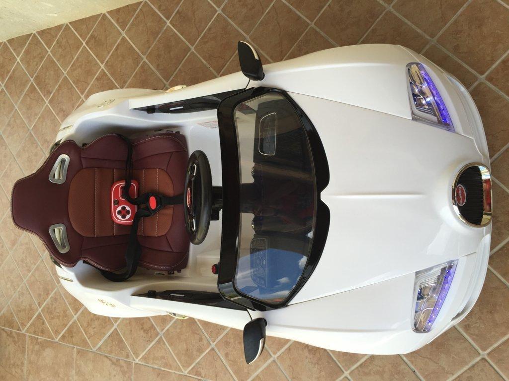 Coche electrico para niños Bugatti Veyron Style Blanco visto desde arriba