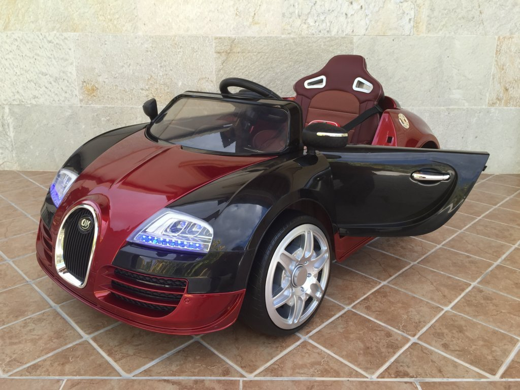 Coche electrico para niños Bugatti Veyron Style Burdeos Metalizado vista principal
