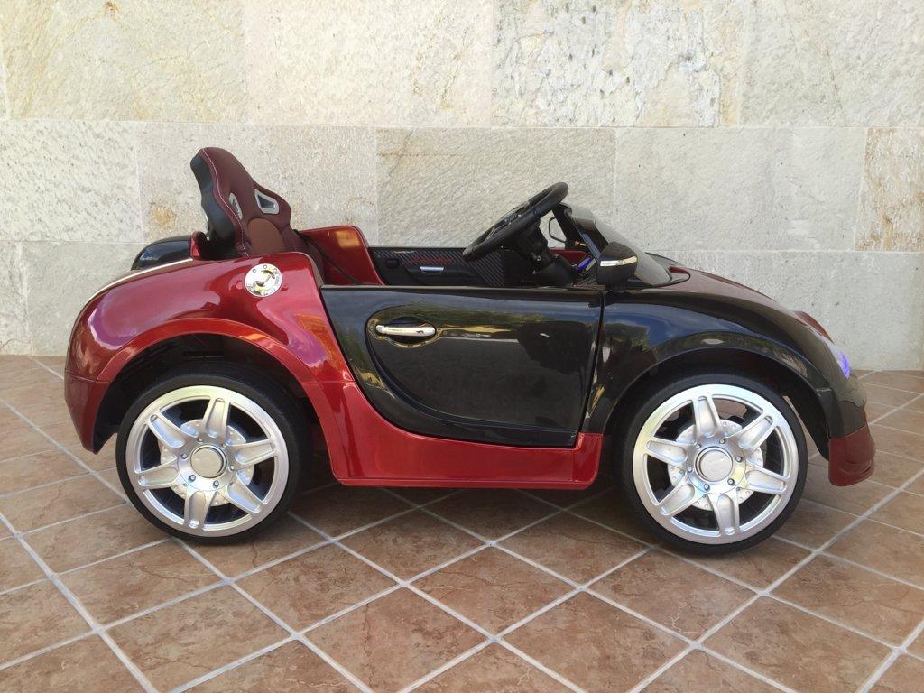 Coche electrico para niños Bugatti Veyron Style Burdeos Metalizado visto de lado