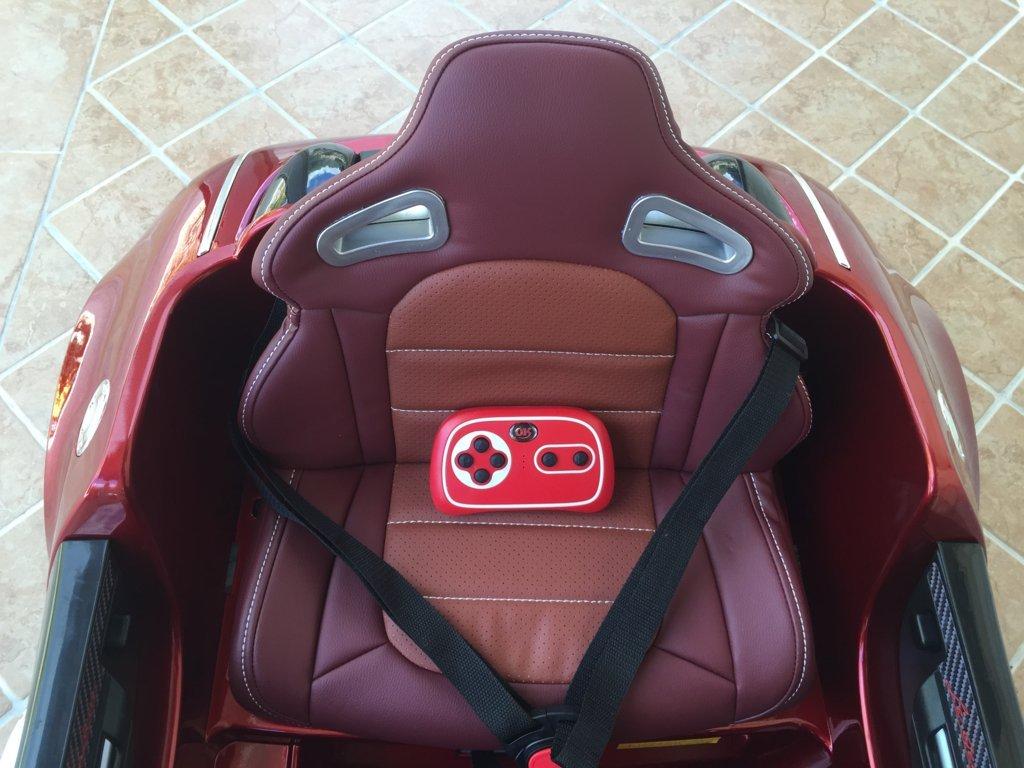 Coche electrico para niños Bugatti Veyron Style Burdeos Metalizado asiento acolchado en piel