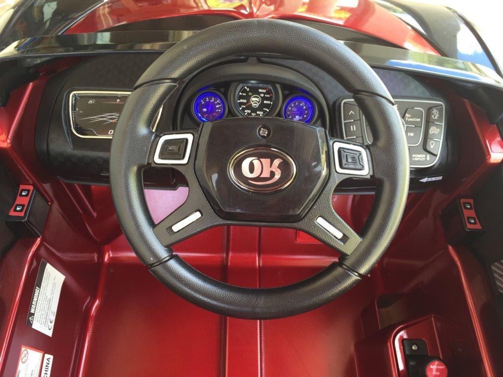 Coche electrico Infantil Bugatti Veyron Style Burdeos Metalizado volante con musica y claxon