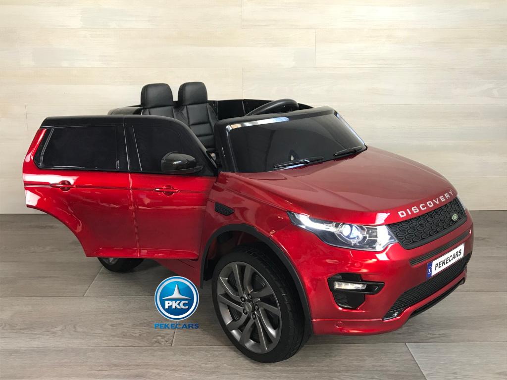 Coche eléctrico para niños Land Rover Discovery 12V MP4 rojo metalizado con apertura de puertas