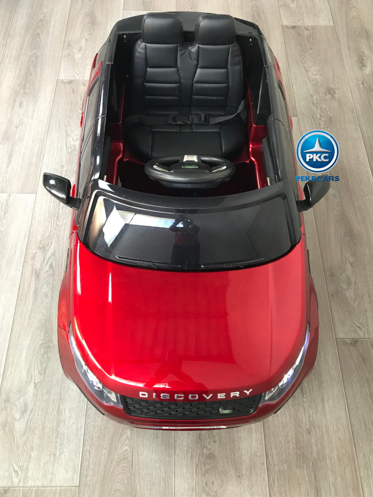 Coche eléctrico infantil Land Rover Discovery 12V MP4 rojo metalizado desde arriba