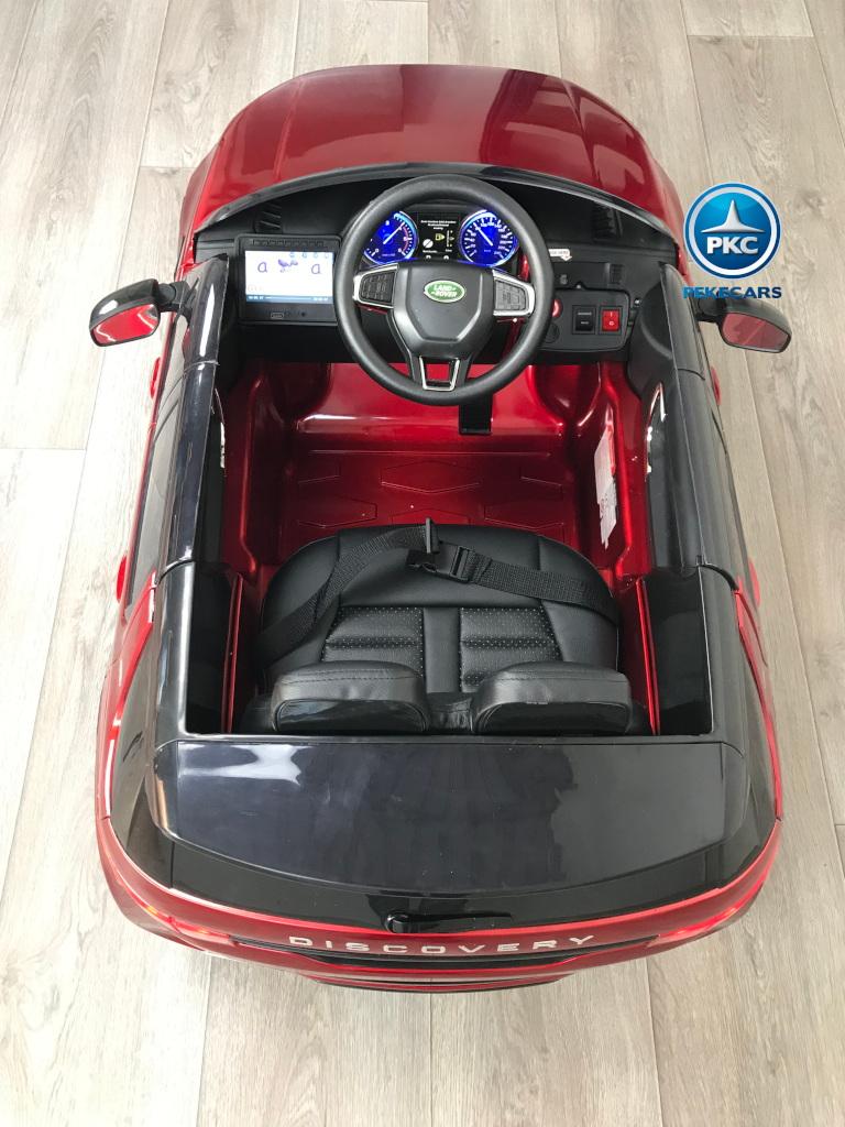 Coche eléctrico para niños Land Rover Discovery 12V MP4 rojo metalizado vista del interior