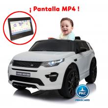 Coche eléctrico para niños Land Rover Discovery 12V MP4 blanco vista principal