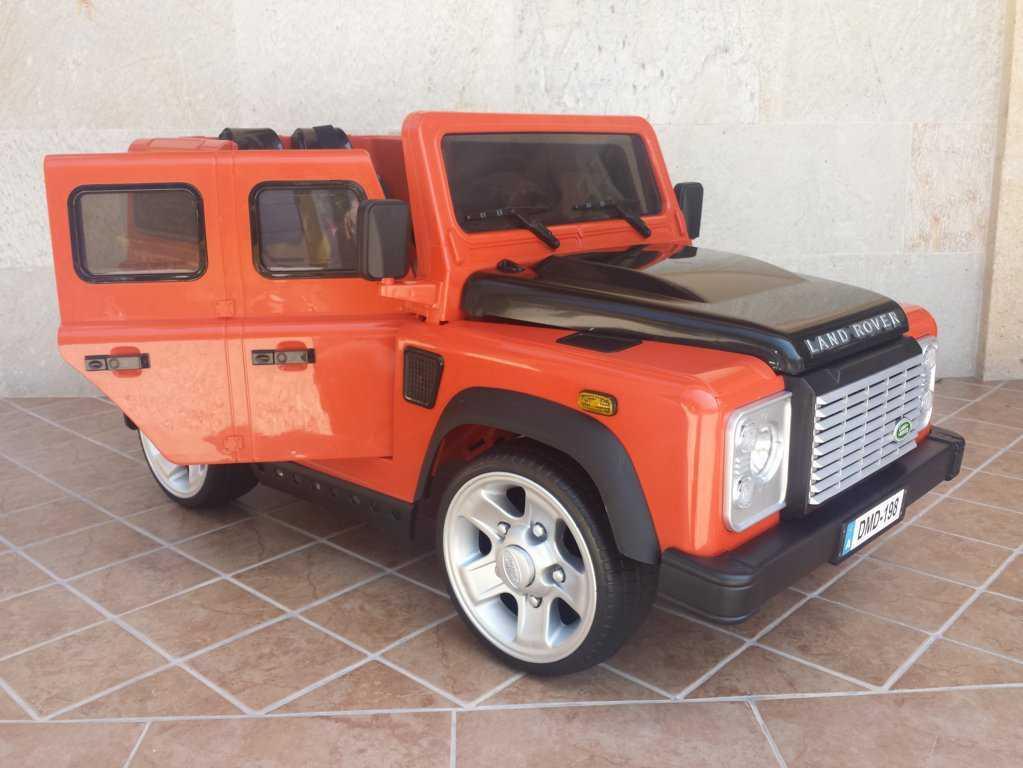Todoterreno electrico infantil Land Rover Defender Naranja con apertura de puertas
