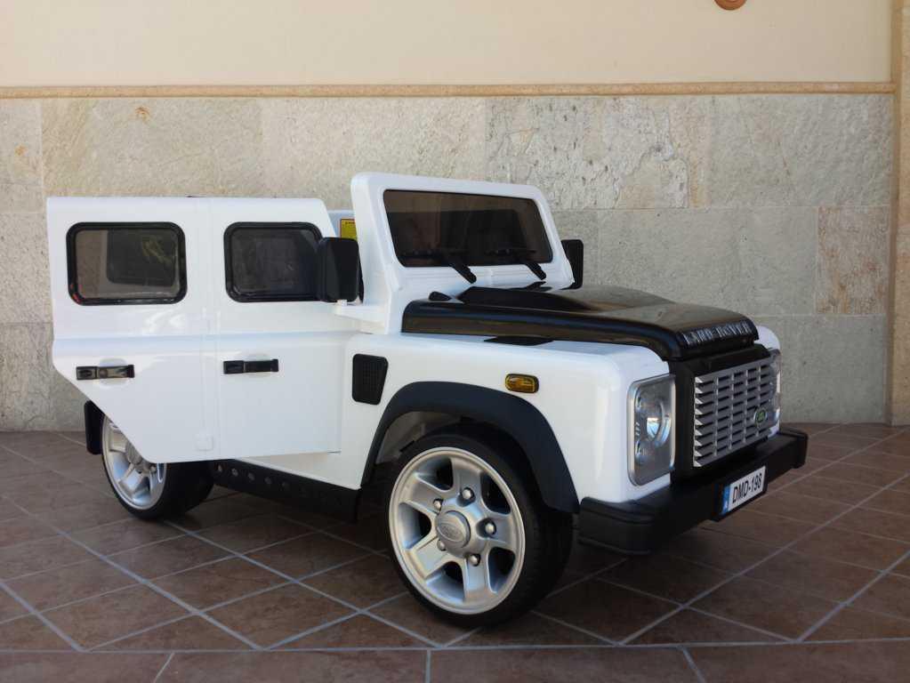 Todoterreno electrico para niños Land Rover Defender Blanco con apertura de puertas