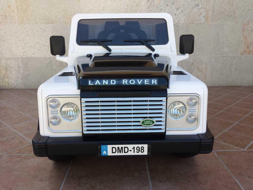 Todoterreno electrico para niños Land Rover Defender Blanco vista frontal